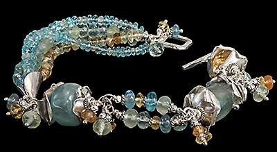 Aquamarine, Sterling and Fine Silver Bracelet